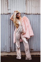 silver sequin Missguided jumper - light pink faux fur THP Shop coat