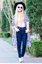 navy high waisted ami clubwear jeans - black free people hat
