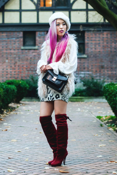 white beret Forever 21 hat - crimson over the knee JustFab boots