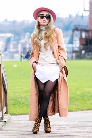 camel asos coat - brown leopard print asos boots