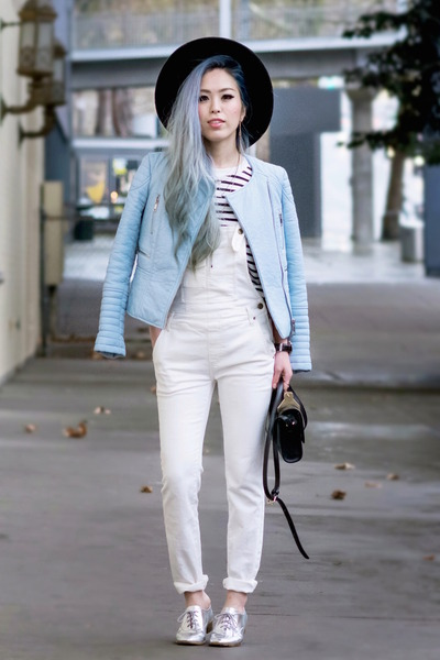 white overalls free people jeans - silver oxfords calvin klein shoes