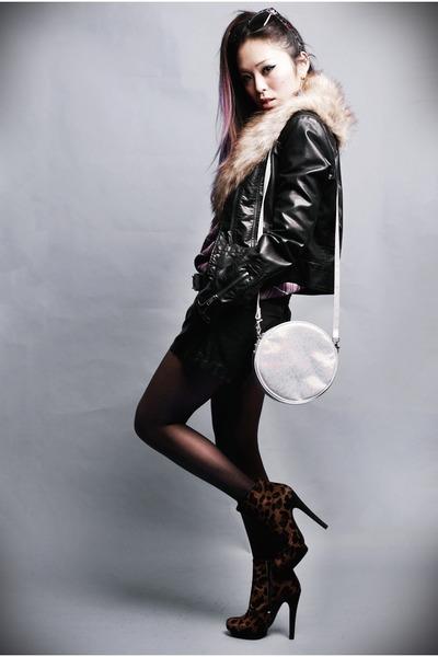 tan fur H&M scarf - dark brown leopard asos boots
