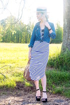 eggshell boater H&M hat - white striped Charlotte Russe dress