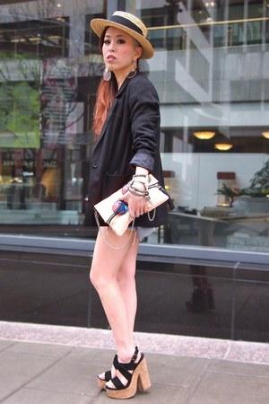 4342ae66f07 tan panama H M hat - black H M blazer - light orange clutch ...