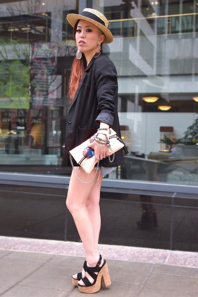 tan panama H&M hat - black H&M blazer - light orange clutch H&M bag