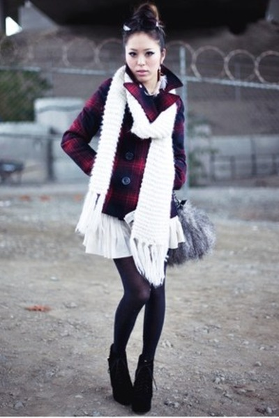 black lita claw Jeffrey Campbell boots - ruby red pea coat Old Navy coat