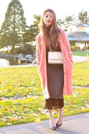 salmon duster Topshop coat - heather gray turtleneck Now I Style sweater