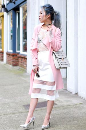 white lace crop Tobi top - light pink SILK NY coat - white Mellow World bag