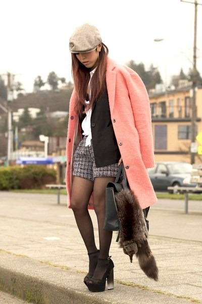 black oversized H&M blazer - salmon wool boyfriend Topshop coat