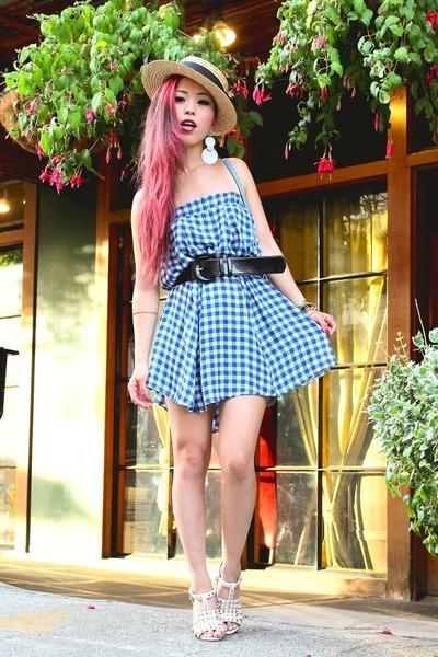 sky blue gingham asos skirt - eggshell boater H&M hat