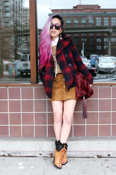 brick red plaid Old Navy coat - bronze faux fur Shoedazzle boots