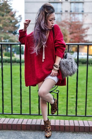 bronze leopard asos boots - heather gray fur Aldo bag - ruby red nowIStyle top
