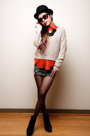 carrot orange sheer thrifted shirt - black Qupid boots - white tracyeinny dress