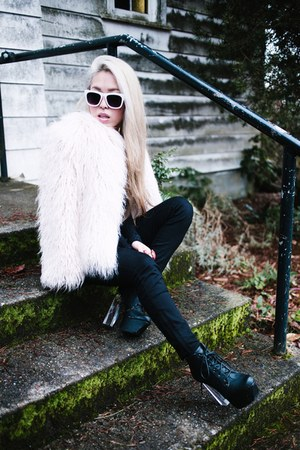 black Charlotte Russe boots - light pink faux fur Zara coat - black Zara jeans