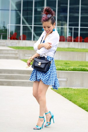 sky blue gingham asos skirt - white asos shirt - black satchel JustFab bag
