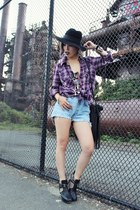 deep purple flannel Forever 21 shirt - tan zoe sam edelman boots