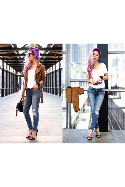 silver Lavisha necklace - silver Trendhood necklace - sky blue J Brand jeans