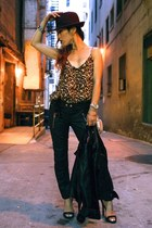 black motorcycle ISABEL MARANT POUR H&M pants - brown leopard Forever 21 dress