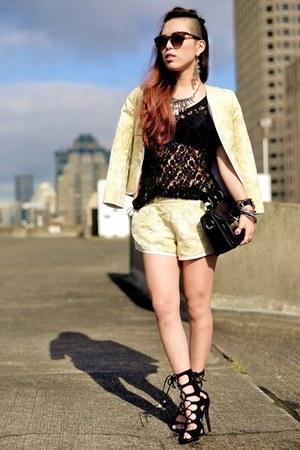 silver crystal H&M necklace - light yellow Aritzia blazer