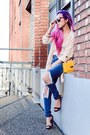 Blue-ripped-style-moi-jeans-yellow-newdress-bag