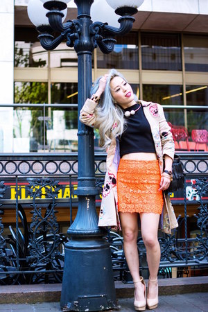 eggshell trench Anthropologie coat - black H&M top - orange lace Topshop skirt
