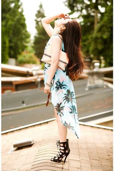 light blue tropical print Forever 21 dress - peach bicolor clutch H&M bag