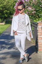 white motorcycle 1State jacket - silver oxford JustFab shoes