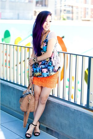 carrot orange lace Topshop skirt - camel steve bag - black strappy asos sandals