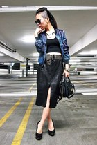black mini 31 Phillip Lim for Target bag - navy galaxy bomber H&M jacket