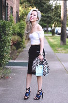 light blue mini JustFab bag - black midi H&M skirt - white asos top