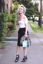 light blue mini JustFab bag - black midi H&M skirt - white asos top