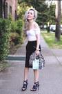 Light-blue-mini-justfab-bag-white-asos-top-black-midi-h-m-skirt