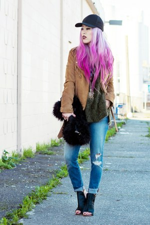 forest green Alysia boots - blue J Brand jeans - black baseball Aritzia hat