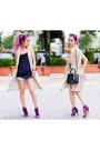 Navy-rebecca-minkoff-bag-blue-denim-gap-shorts-purple-fringe-justfab-sandals