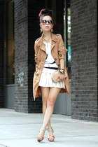 tan trench Pink Basis coat - white tank Aritzia shirt