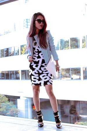 white print ami clubwear dress - black ami clubwear boots
