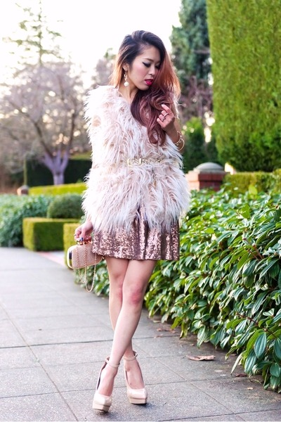light pink sequins Tobi dress - neutral Pink Basis bag