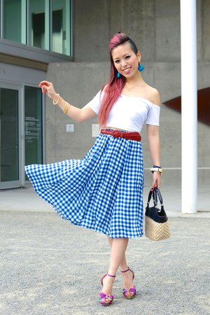 sky blue gingham asos skirt - red H&M belt - white cropped asos top