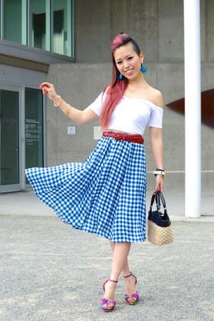 sky blue gingham asos skirt - red H&M belt - white cropped asos top