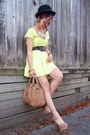 Light-yellow-skater-charlotte-russe-dress-black-bowler-aldo-hat