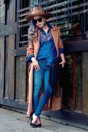 camel asos coat - black Cherry Footwear shoes - blue free people jeans