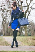blue Charlotte Russe skirt - navy snood asos skirt - navy tote JustFab bag