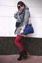 oxblood tights - lace-up Steve Madden boots - BB Dakota jacket