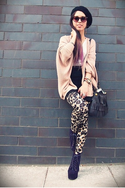 light pink sequin Bebe cardigan - dark khaki pitaya leggings