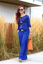 blue mesh H&M sweater - orange JustFab bag - blue wide-leg Mango pants