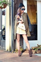 light yellow tailored Aritzia suit - dark brown open-toe Steve Madden boots