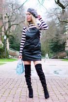 black over the knee JustFab boots - black overalls Petit Sesame dress