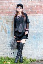 black over the knee Shoedazzle boots - black t-shirt Alexander Wang dress