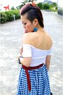 Sky-blue-gingham-asos-skirt-white-cropped-asos-top-red-h-m-belt