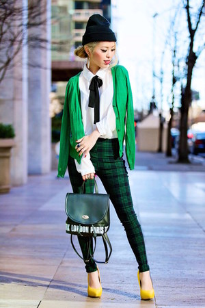 yellow ami clubwear pumps - dark green plaid Lemonade Clothes leggings